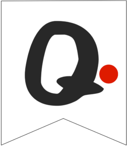 Letter Q Friends themed Banner Letter with red dot