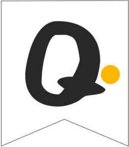 Letter Q Friends themed Banner Letter with yellow dot