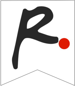 Letter R Friends themed Banner Letter with red dot