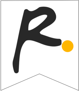 Letter R Friends themed Banner Letter with yellow dot