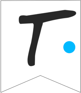 Letter T Friends themed Banner Letter with blue dot