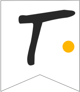 Letter T Friends themed Banner Letter with yellow dot