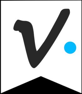 Letter V Friends themed Banner Letter with blue dot