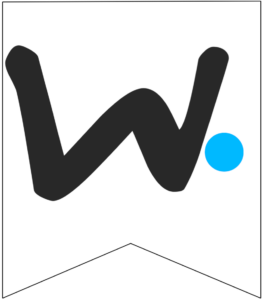 Letter W Friends themed Banner Letter with blue dot