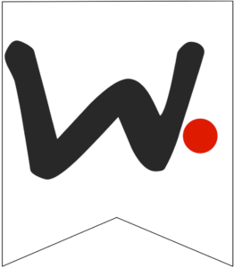 Letter W Friends themed Banner Letter with red dot