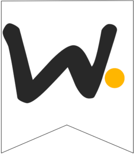 Letter W Friends themed Banner Letter with yellow dot