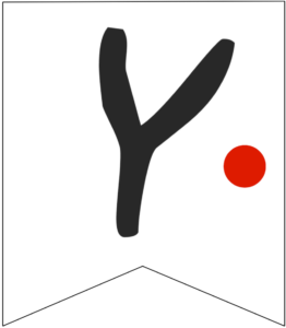 Letter Y Friends themed Banner Letter with red dot