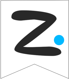 Letter Z Friends themed Banner Letter with blue dot