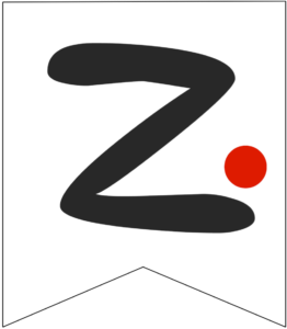 Letter Z Friends themed Banner Letter with red dot
