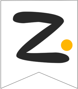 Letter Z Friends themed Banner Letter with yellow dot
