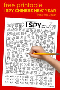 Chinese New Year activity page idea with text overlay- free printable I spy Chinese New Year