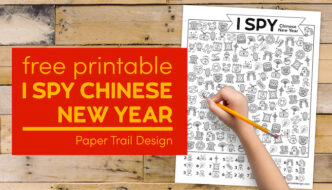 Chinese New Year printable kids activity page with kids hand holding pencil with text overlay- free printable I Spy Chinese New Year