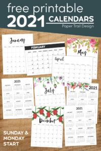 Different calendar format pages with text overlay- free printable 2021 calendars