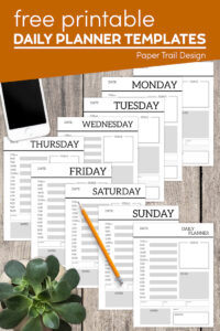 Daily planner templates with text overlay- free printable daily planner templates