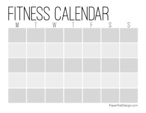 Printable workout calendar template in calendar format with 5 weeks to fill in an exercise plan
