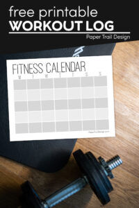 Monthly workout calendar template with weights with text overlay- free printable workout log