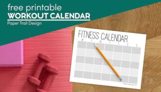 Free printable workout calendar to track workouts with text overlay- free printable workout calendar
