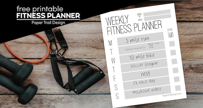 Weekly fitness planning template page with weights and fitness bands with text overlay- free printable fitness planner