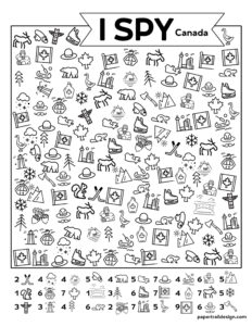 I Spy Canada worksheet for kids with Canadian flag, moose, maple syrup, and more