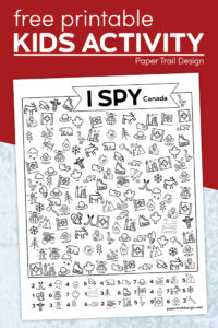 Canada I spy seek and find page printable with text overlay- free printable kids activity
