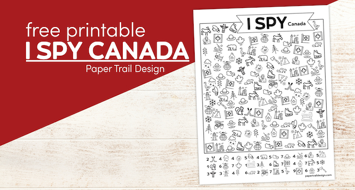 Canada activity page for kids with text overlay- free printable I spy Canada