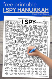 Hanukkah printable I spy game with text overlay- free printable I spy Hanukkah