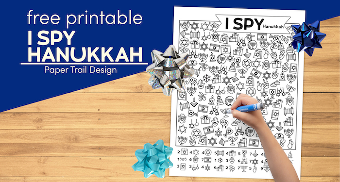 Hanukkah printable with blue ribbons and kids hand holding a marker with text overlay- free printable I spy Hanukkah