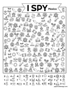 I spy Mexico printable activity page with pictures of maracas, mariachis, cacti, the Mexican flag, and more.