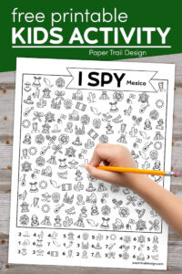 I spy Mexico themed kids workpage with text overlay- free printable kids activity