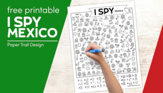 I spy Mexico activity page with kids hand holding marker with text overlay- free printable I spy Mexico