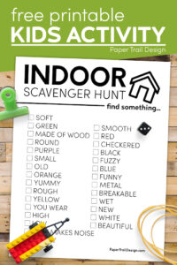 Indoor scavenger hunt list with text overlay- free printable kids activity