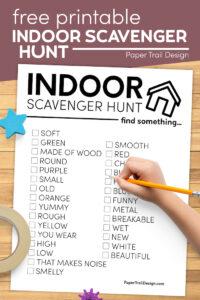 Printable kids activity scavenger hunt list with text overlay- free printable indoor scavenger hunt