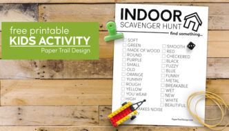 Kids indoor scavenger hunt printable with text overlay- free printable kids activity