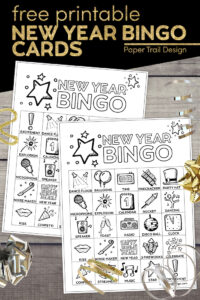 New Year's Eve bingo card game printable with text overlay- free printable New Year Bingo