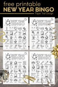 New Year's Eve activity bingo game cards with text overlay- free printable New Year Bingo