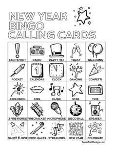 New Year's Bingo Calling Cards Printable Page