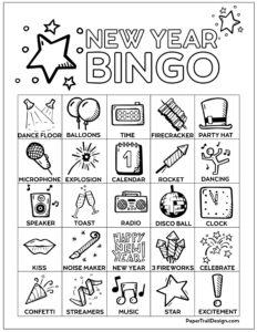 New Year's Eve Bingo board card free printable