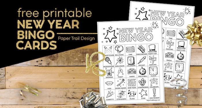 New Year's bingo game with text overlay- free printable New Year Bingo cards.
