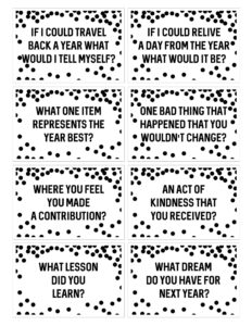 New Year's question game free printables