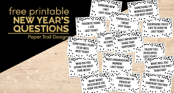 New Year's Eve game with reflection questions with text overlay- free printable New Year's questions