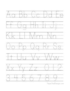 Alphabet handwriting practice worksheet with lines, a-z and 0-9