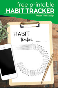 Goal tracker printable with text overlay- free printable habit tracker