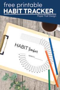 Free habit tracker printable to track five goals with text overlay free printable habit tracker
