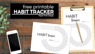 Monthly goal tracker for a bullet journal with text overlay- free printable habit tracker