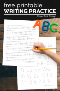 Free handwriting practice for kids with text overlay- free printable writing practice