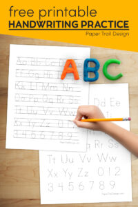 Alphabet writing practice for kindergarten with text overlay - free printable handwriting practice