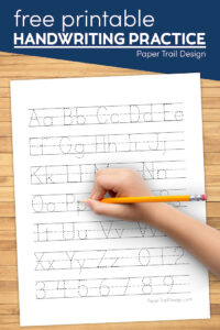 Preschool writing practice sheets with text overlay- free printable handwriting practice