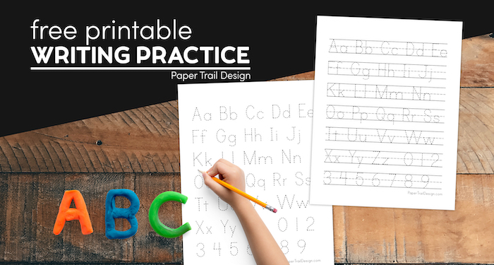 ABC writing practice page with text overlay- free printable handwriting practice