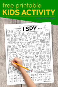 Free learning I spy Brazil themed kids activity with text overlay- free printable kids activity