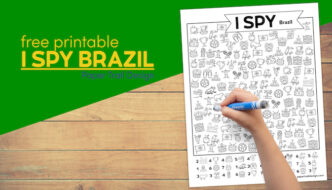 Free printable I spy Brazil activity page with text overlay- free printable I spy Brazil